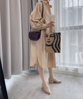Dress Summer 2020 Khaki, army green XS,S,M,L,XL,2XL longuette singleton  Long sleeves commute Polo collar High waist Solid color Single breasted A-line skirt routine 18-24 years old Type A DEAR JANE'S COLLECTION Button cotton