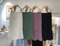 skirt Summer 2021 S code, M code Apricot, green, purple, black longuette commute High waist A-line skirt Dot Type A 18-24 years old Chiffon polyester fiber printing