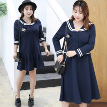 Women's large Spring 2020 Blue short, blue long Big XL, big XXL, big XXXL, 4XL Dress commute Solid color Korean version Admiral have cash less than that is registered in the accounts hemp other Other / other 25-29 years old 91% (inclusive) - 95% (inclusive) other other