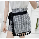 Casual pants Black and white check S,M,L Spring 2021 shorts High waist Versatile routine 18-24 years old 51% (inclusive) - 70% (inclusive) Other / other other