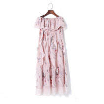 Dress Summer 2020 Blue, pink S,M,L longuette singleton  Sleeveless One word collar Elastic waist Decor Socket Others 18-24 years old Other / other 51% (inclusive) - 70% (inclusive) other other