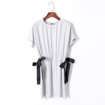 Dress Summer of 2019 grey S,M,L Middle-skirt singleton  Short sleeve Crew neck Elastic waist Bat sleeve 18-24 years old Other / other 51% (inclusive) - 70% (inclusive) other