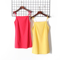 Dress Autumn of 2019 Black, white, yellow, red S, M Short skirt singleton  Sleeveless High waist Solid color Socket camisole 18-24 years old Other / other 51% (inclusive) - 70% (inclusive) other