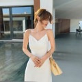 Dress Summer 2021 White, white/ XS,S,M,L longuette singleton  Sleeveless commute V-neck High waist Solid color zipper A-line skirt other camisole 25-29 years old Type A Island song lady Simplicity Zipper, metal trim More than 95% other polyester fiber