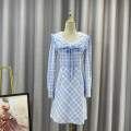 Dress Spring 2021 Blue check S,M,L Mid length dress singleton  Long sleeves street square neck High waist Socket routine Others 18-24 years old Type A