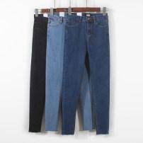 Jeans Autumn 2021 Dark blue, light blue, dark gray S,M,L,XL,2XL,3XL Ninth pants High waist Pencil pants routine Wash and whiten Cotton denim Dark color