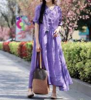 Dress Spring 2021 Yellow, green, purple, pink Average size Mid length dress singleton  elbow sleeve commute V-neck High waist Solid color Socket routine Y21329L2 51% (inclusive) - 70% (inclusive) hemp