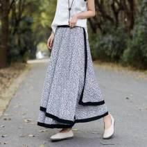 skirt Spring 2021 Average size Black, white Mid length dress commute Natural waist A-line skirt 31% (inclusive) - 50% (inclusive) Continuation of painting hemp literature
