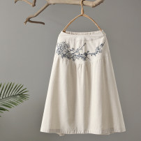 skirt Spring 2021 Average size Grey, beige Mid length dress commute High waist 51% (inclusive) - 70% (inclusive) Continuation of painting hemp pocket literature
