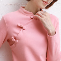 T-shirt Pink, dark green, red, black, yellow, fruit green S,M,L,XL,2XL,3XL Autumn 2020 Long sleeves stand collar Self cultivation Regular routine commute cotton 96% and above 25-29 years old ethnic style literature Solid color Other / other Button