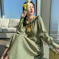 Dress Spring 2021 green S,XL,L,M longuette singleton  Long sleeves commute Doll Collar High waist lattice zipper Pleated skirt routine Others 25-29 years old Other / other Panel, fungus, button 71% (inclusive) - 80% (inclusive) other polyester fiber