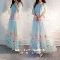 Dress Spring 2020 Main color (skirt length 135 cm) Please quote the size for your custom longuette Two piece set three quarter sleeve commute other Loose waist other other Big swing other Others 18-24 years old Type A Jane Eyre Garden Retro Embroidery, stitching, buttons, mesh other
