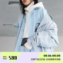 Windbreaker Winter of 2018 Long sleeves routine Medium length street double-breasted Solid color 18-24 years old neutral