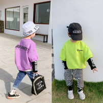 Sweater / sweater I'M SWEET Purple, fluorescent green male 140cm for size 15, 150cm for size 17, 90cm for size 5, 100cm for size 7, 110cm for size 9, 120cm for size 11, 130cm for size 13 spring and autumn nothing Korean version Socket routine There are models in the real shooting cotton other WY21134