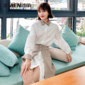 Dress Spring 2020 white 155/80A/S 160/84A/M 165/88A/L 170/92A/XL Middle-skirt Two piece set Long sleeves middle-waisted lattice Single breasted A-line skirt Others 25-29 years old Smen / poetry · Meng More than 95% other Other 100%