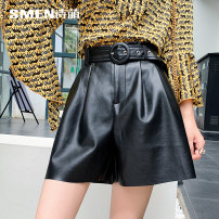Casual pants black 155/64A/S 160/68A/M 165/72A/L 170/76A/XL Spring 2020 shorts Straight pants High waist Versatile routine Smen / poetry · Meng Leatherwear belt Viscose (viscose) 45% others 55%