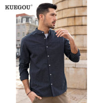 shirt Fashion City Kuegou / cool clothes M/170 L/175 XL/180 XXL/185 XXXL/190 Blue stripe routine stand collar Long sleeves standard Other leisure spring BC-20531 youth Cotton 100% Business Casual 2021 stripe Spring 2021 washing cotton Button decoration Pure e-commerce (online only) More than 95%
