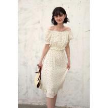 skirt Summer 2021 XS,S,M,L Milky white Mid length dress commute Natural waist Fairy Dress Dot Type H 25-29 years old HBQA206 More than 95% Chiffon HeyDress polyester fiber Flocking, folding, printing Simplicity