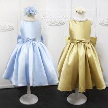 Children's dress Gold, light blue female 100cm (size 2), 110cm (size 4), 120cm (size 6), 130cm (size 8), 140cm (size 10) Honey full dress