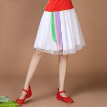 Square dance skirt White, scarlet skirt, purple rose, green skirt, yellow skirt, pink skirt M,L,XL,2XL,3XL,4XL,5XL,6XL show female Shredded milk yes