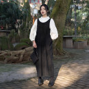 Dress Spring of 2019 black Average size Mid length dress singleton  Sleeveless commute Crew neck middle-waisted Solid color Socket other routine straps 18-24 years old Type H Simple BLACK literature Hollowing out More than 95% knitting cotton