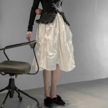 skirt Spring 2021 S,M,L white longuette commute High waist A-line skirt Solid color Type A 18-24 years old Q-977 More than 95% corduroy Simple BLACK cotton fold 161g / m ^ 2 (including) - 180g / m ^ 2 (including)