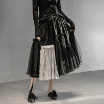 skirt Spring 2021 S, M black longuette commute High waist Pleated skirt Solid color Type A 18-24 years old Q-961 More than 95% other Simple BLACK cotton Gauze 161g / m ^ 2 (including) - 180g / m ^ 2 (including)