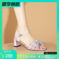 Sandals Superfine fiber Luoliana Barefoot Middle heel (3-5cm) Thick heel Summer 2021 Europe and America Flat buckle Solid color Adhesive shoes Youth (18-40 years old) TPR (tendon) daily Front and rear trip strap Buckle, Sequin, bow and diamond heel Low Gang Hollow Microfiber skin Microfiber skin