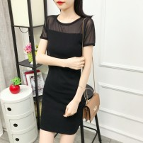 Dress Summer 2020 Black, dls-01 lace, dls-09 hem, DLS Mini wrinkle Chrysanthemum S,M,L,XL,2XL,3XL Middle-skirt singleton  Short sleeve commute Crew neck middle-waisted Solid color Socket One pace skirt other Others 25-29 years old Type H Korean version Hollow out, gauze DX-LS099 other