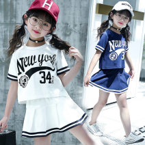 suit Other / other White, blue 120cm,130cm,140cm,150cm,160cm,170cm female summer Korean version Long sleeve + skirt 2 pieces Thin money There are models in the real shooting Socket nothing other Pure cotton (100% cotton content) 1862 Tibetan blue white college style knitted suit Class B