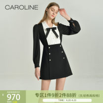 Dress Spring 2021 black and white S,M,L,XL Short skirt Long sleeves V-neck High waist Single breasted Princess Dress routine 25-29 years old Type X Caroline / Caroline Bowknot, stitching other