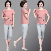 Sports suit Shuyanis female Short sleeve Crew neck Cropped Trousers Socket Summer 2021 Sports & Leisure Moisture absorption and perspiration, anti ultraviolet, breathable Sports life cotton Embroidery