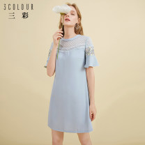 Dress Summer 2020 Light blue 170/92A/XL,160/84A/M,175/96A/XXL,165/88A/L,155/80A/S Short skirt singleton  elbow sleeve commute Crew neck middle-waisted Socket A-line skirt pagoda sleeve Others 25-29 years old Type A Tricolor Simplicity Embroidery D024011L10 More than 95% polyester fiber