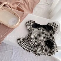 suit Other / other Red, black, pink 80cm,90cm,100cm,110cm,120cm female summer princess Short sleeve + skirt 2 pieces Thin money No model Socket nothing lattice other children Expression of love Class B Cotton 100% Chinese Mainland Guangdong Province Foshan City