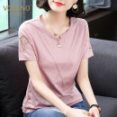 T-shirt Pink orange red dark green flower gray yellow white black red MLXL2XL3XL4XL5XL Short sleeve Summer of 2018 Round neck Conventional models Loose conventional Commuting 25-29 years old Creativity Pure color Korean version Vobeno / obero Stitching lace hollow