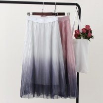 skirt Summer of 2019 Average size White, black, gray, pink, khaki Mid length dress Sweet Natural waist Pleated skirt Type A 6671-1 Other / other
