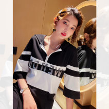 Dress Spring 2021 Black and white, black and white (7-9 days delivery) S,M,L Mid length dress singleton  Short sleeve street Hood Loose waist letter Socket One pace skirt routine 25-29 years old Type H I LOVE BLING Diamond inlay Q5783 51% (inclusive) - 70% (inclusive) other Europe and America