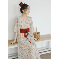 Dress Spring 2020 Dark flowers for the waist, light flowers for the waist, green flowers for the waist S, M Mid length dress singleton  elbow sleeve Sweet V-neck High waist Decor other A-line skirt routine Others 18-24 years old Type A Ai Ai Wan LYQ19032704 More than 95% Chiffon polyester fiber