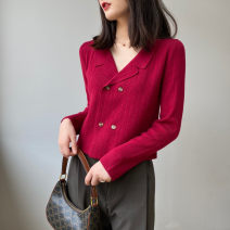 Wool knitwear Autumn 2020 Average size Black, purple, gray, red, oats Long sleeves singleton  Cardigan acrylic fibres More than 95% Regular routine commute Self cultivation tailored collar routine Solid color double-breasted Ol style 25-29 years old Thread, button