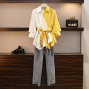 Women's large Autumn 2020, spring 2021 Blue suit, yellow suit L [100-120 Jin recommended], XL [120-140 Jin recommended], 2XL [140-160 Jin recommended], 3XL [160-180 Jin recommended], 4XL [180-200 Jin recommended] Other oversize styles Two piece set commute Self cultivation moderate Socket Polo collar