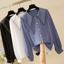 Women's large Spring 2020 White, Navy, black L [100-120 Jin recommended], XL [120-140 Jin recommended], 2XL [140-160 Jin recommended], 3XL [160-180 Jin recommended], 4XL [180-200 Jin recommended] shirt singleton  commute easy moderate Cardigan Long sleeves Solid color Korean version other routine