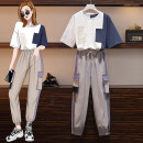 Women's large Summer 2020 Light suit, dark suit M [recommended 80-100 Jin], l [recommended 100-120 Jin], XL [120-140 Jin], 2XL [140-160 Jin recommended], 3XL [160-180 Jin recommended], 4XL [180-200 Jin recommended] Other oversize styles Two piece set commute easy moderate Socket Short sleeve routine