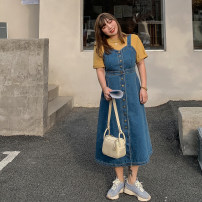 Dress Spring 2021 L,XL,2XL,3XL,4XL,5XL longuette singleton  Sleeveless commute High waist Solid color Single breasted A-line skirt routine straps 25-29 years old Type A Korean version Button Denim cotton