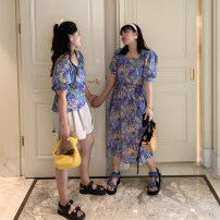 Dress Spring 2020 Bubble sleeve top (in stock), square collar dress (in stock) L,XL,2XL,3XL,4XL longuette Two piece set Short sleeve commute One word collar High waist Broken flowers A-line skirt puff sleeve Others Korean version XFX20626 30% and below