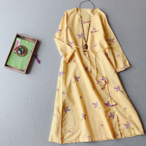 Dress Spring 2021 Purple, blue, yellow, orange Average size longuette singleton  Long sleeves commute Crew neck Loose waist Decor Socket A-line skirt routine 25-29 years old Type A Other / other Retro Embroidery MQ085 71% (inclusive) - 80% (inclusive) brocade hemp