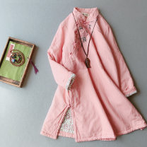 Cotton padded clothes Pink, blue, orange Average size Winter 2020 Other / other Medium length Long sleeves thickening Single breasted commute stand collar routine Straight cylinder other Retro Embroidery, stitching, buttons 71% (inclusive) - 80% (inclusive) hemp Cotton 71% - 80% 25-29 years old