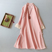 Dress Autumn 2020 M, L Mid length dress singleton  Long sleeves commute stand collar Loose waist Solid color Socket A-line skirt routine 25-29 years old Type A Other / other Retro Button, button 51% (inclusive) - 70% (inclusive)