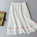 skirt Spring 2021 Average size Pink, white, purple, turquoise, beige Mid length dress commute High waist A-line skirt Solid color Type A 25-29 years old MLL040 71% (inclusive) - 80% (inclusive) Other / other hemp Pockets, stitching Retro