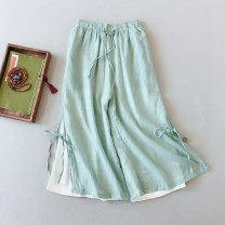 Casual pants White, khaki, black, turquoise Average size Summer of 2018 Cropped Trousers Wide leg pants High waist commute routine 25-29 years old 51% (inclusive) - 70% (inclusive) MLL40 Other / other hemp Retro belt hemp