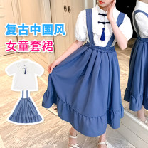 suit Other / other royal blue 120cm,130cm,140cm,150cm,160cm,170cm summer Chinese style Short sleeve + skirt 2 pieces routine log cabin Five, six, seven, eight, nine, ten, eleven, twelve, thirteen, fourteen Chinese Mainland
